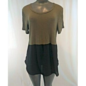 Lush Green Black Sheer Cotton Tunic Medium Top